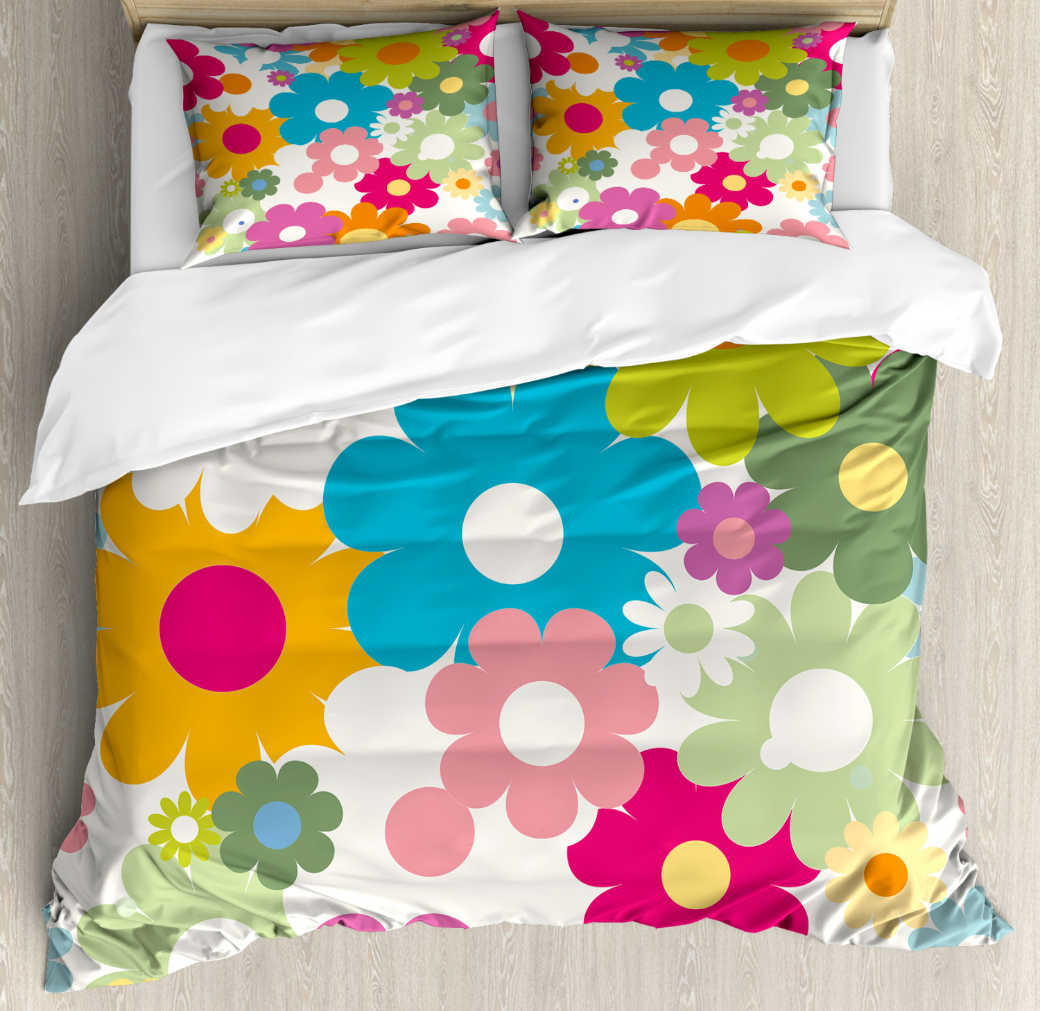 Floral Duvet Cover Set with Pillow Shams Sixties Inspiration Print