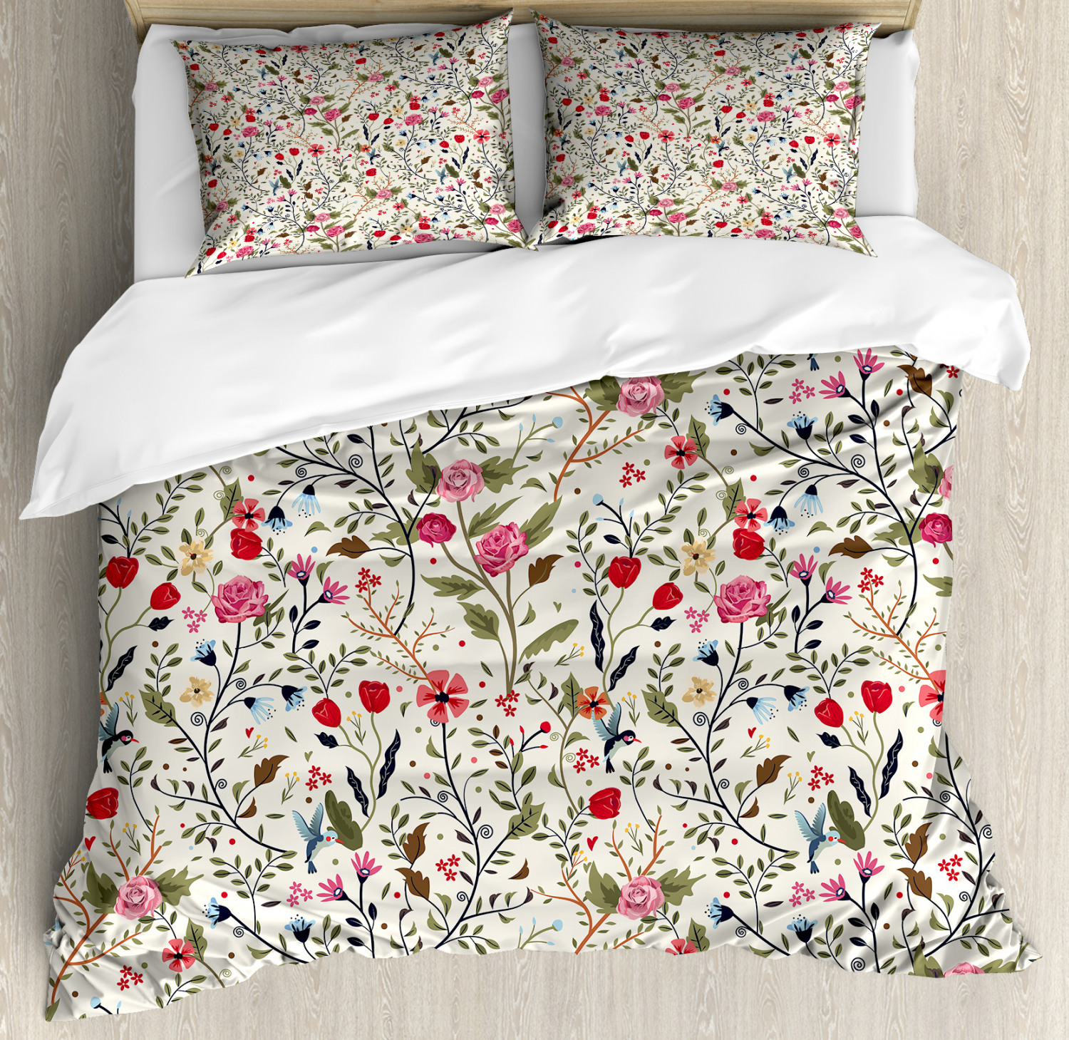 Floral Duvet Cover Set with Pillow Shams Birds Roses Polka D
