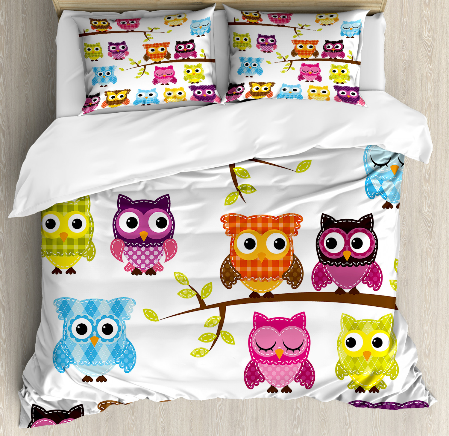 Nursery Duvet Cover Set with Pillow Shams Patchwork Style Owls Print
