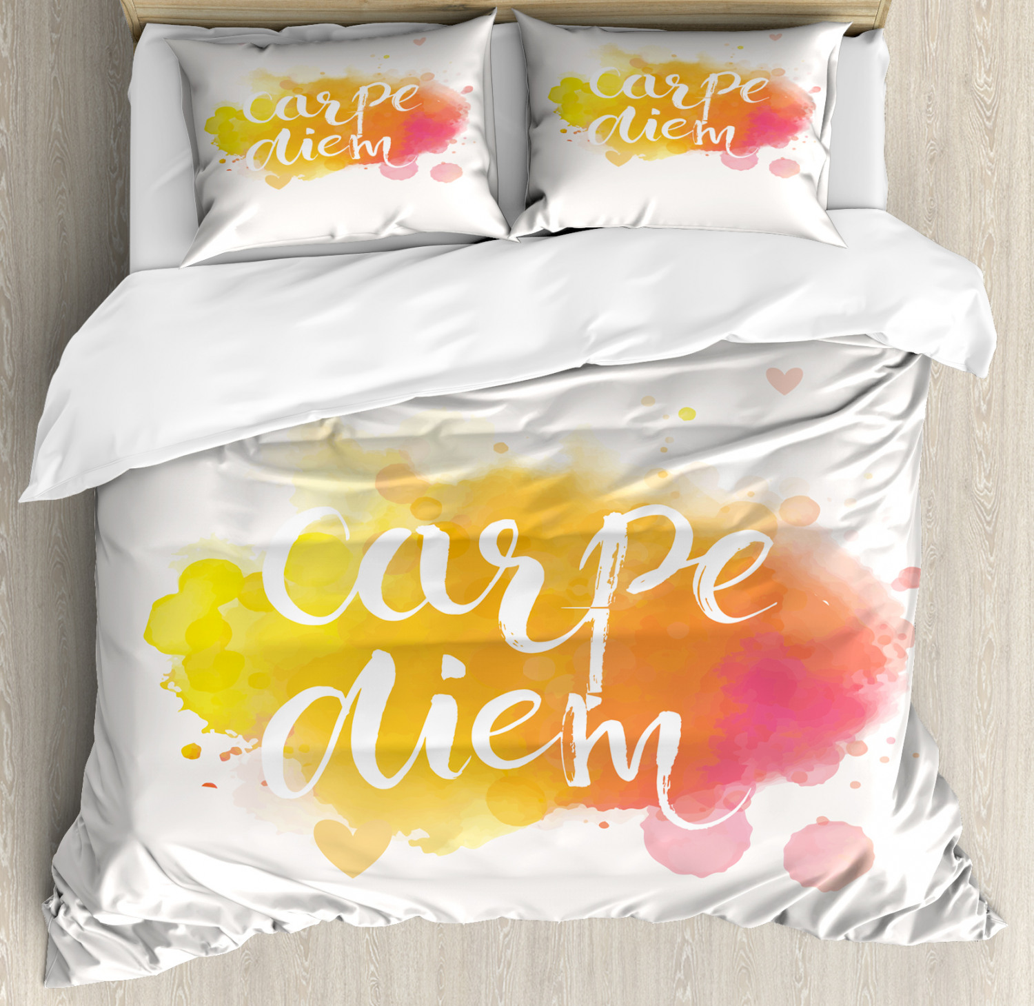 Yellow and White King Size Duvet Cover Set Carpe Diem Art with 2 Pillow Shams