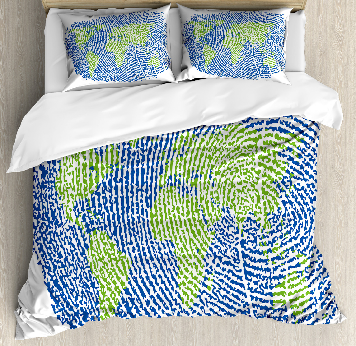 Details about World Map Duvet Cover Set with Pillow Shams Fingerprint World  Map Print