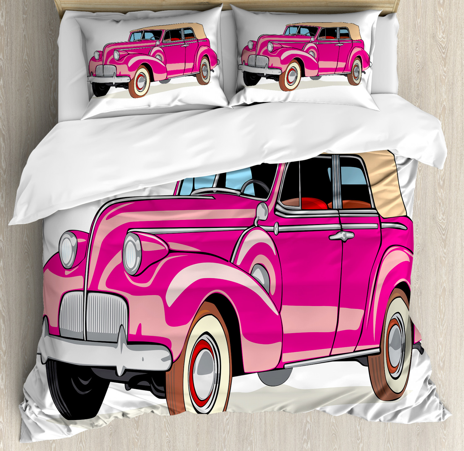 Colorful-Cars-Duvet-Cover-Set-Twin-Queen-King-Sizes-with-Pillow-Shams-Bedding miniature 34
