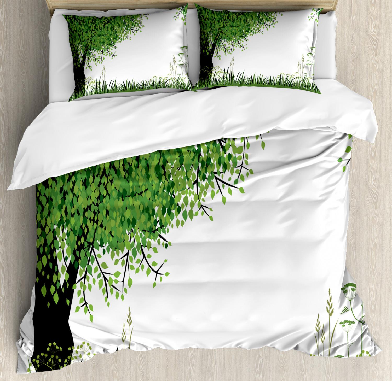 Nature Housse De Couette Avec Oreiller Shams Arbre herbe d'été imprimé