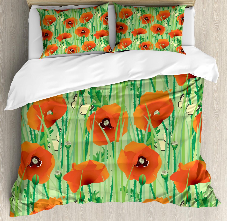 Spring Duvet Cover Set with Pillow Shams Poppy Flowers Field Print