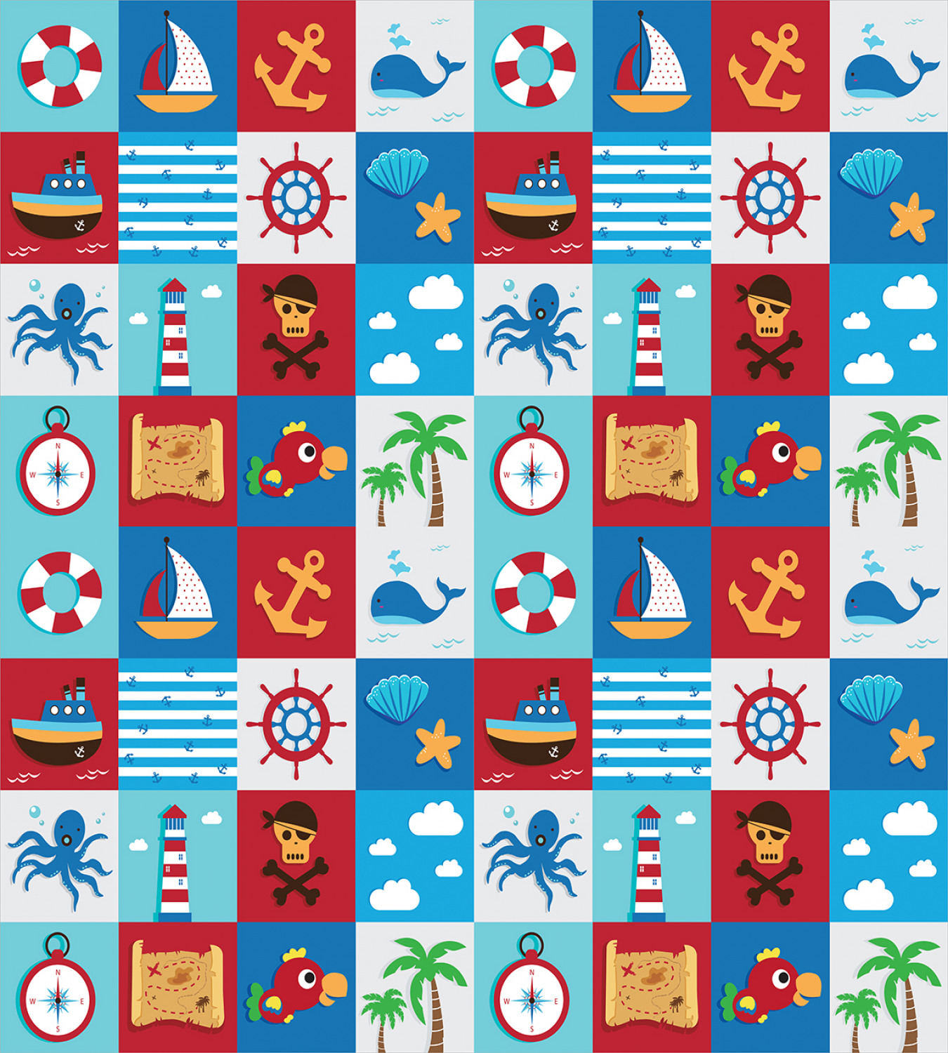Cartoon Nautical Icons Print Kids Quilted Bedspread /& Pillow Shams Set