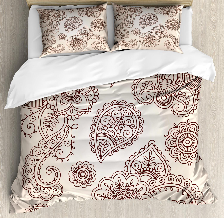 Duvet Cos.Details About Henna Duvet Cover Set With Pillow Shams Monochrome Paisley Doodle Print
