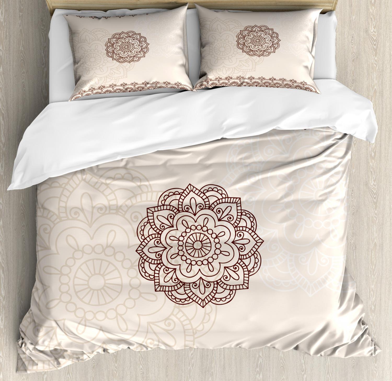 Henna Duvet Cover Set with Pillow Shams Geometrical Swirls Lines Print