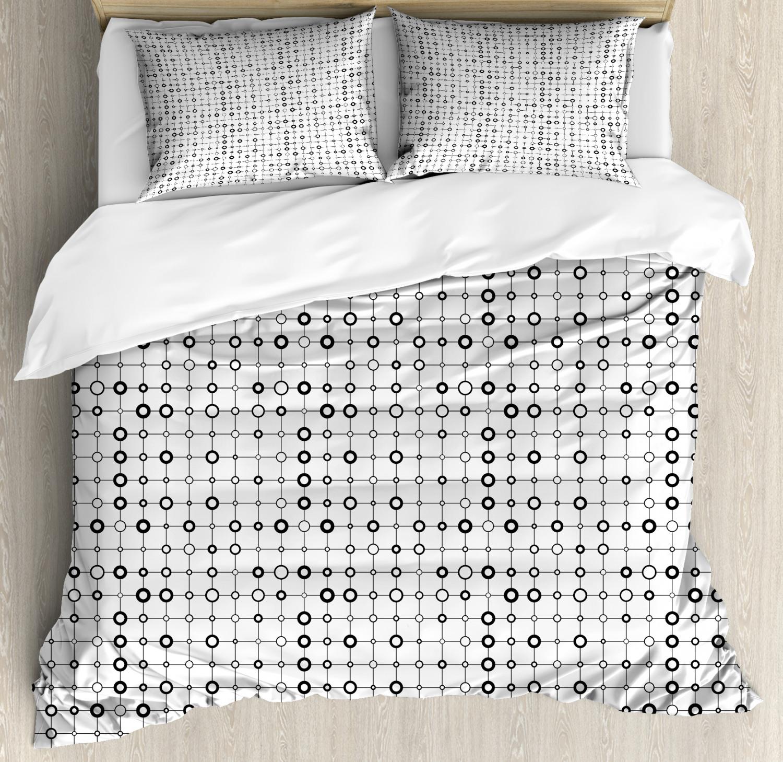 Geometric Duvet Cover Set with Pillow Shams Monochrome Modern Print