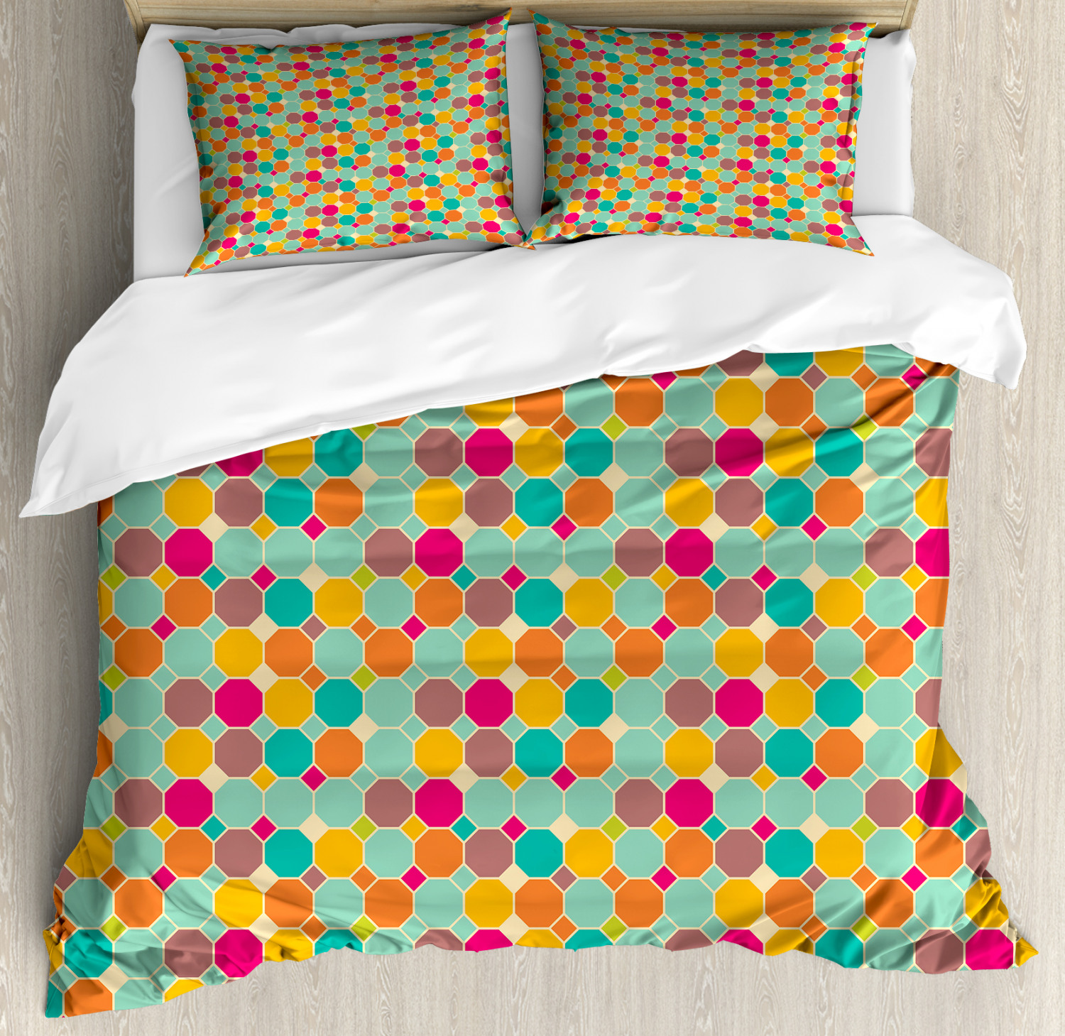 Geometric Duvet Cover Set with Pillow Shams Hexagons and Squares Print