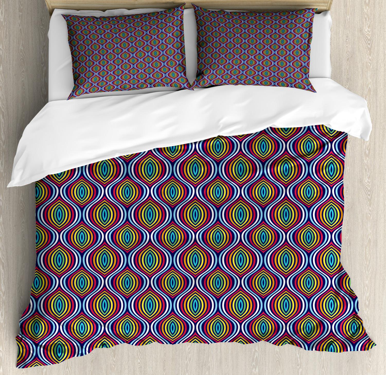 Geometric Duvet Cover Set with Pillow Shams Symmetrical Shapes Print