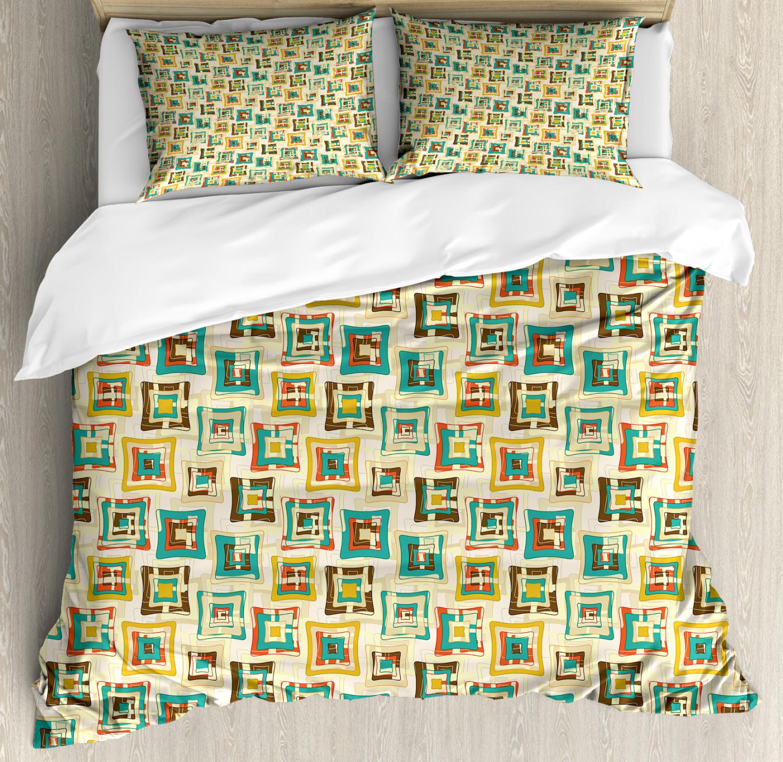 Geometric Duvet Cover Set with Pillow Shams Surreal Puzzle Shape Print