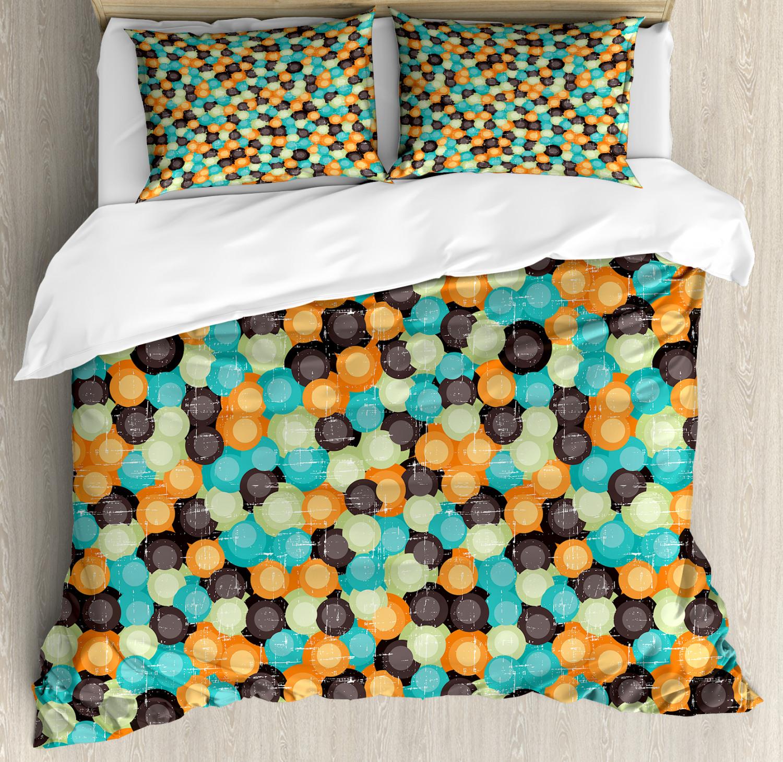 Geometric Duvet Cover Set with Pillow Shams Vibrant Toned Circles Print