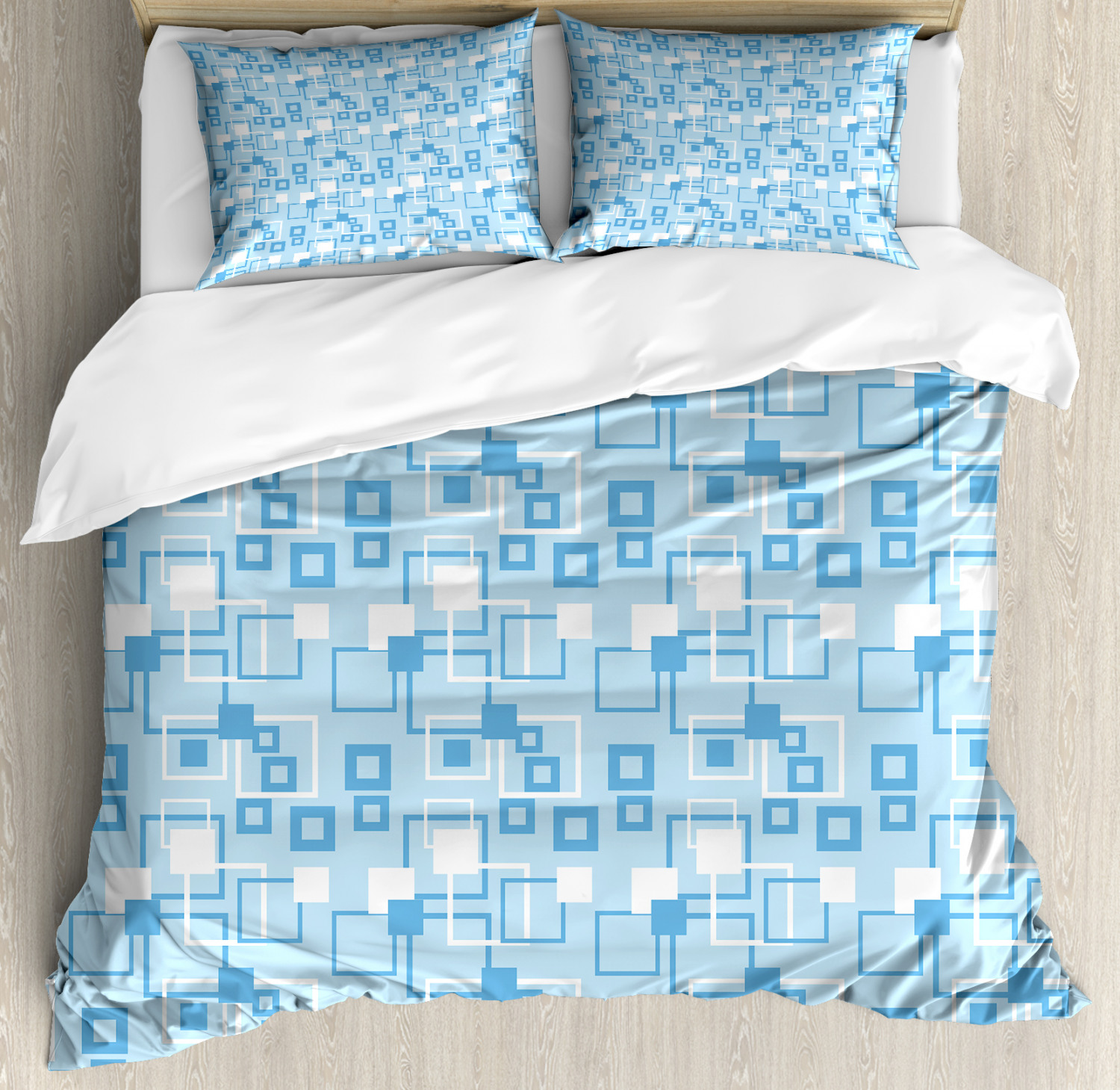 Geometric Duvet Cover Set with Pillow Shams Squares Kids Boys Print