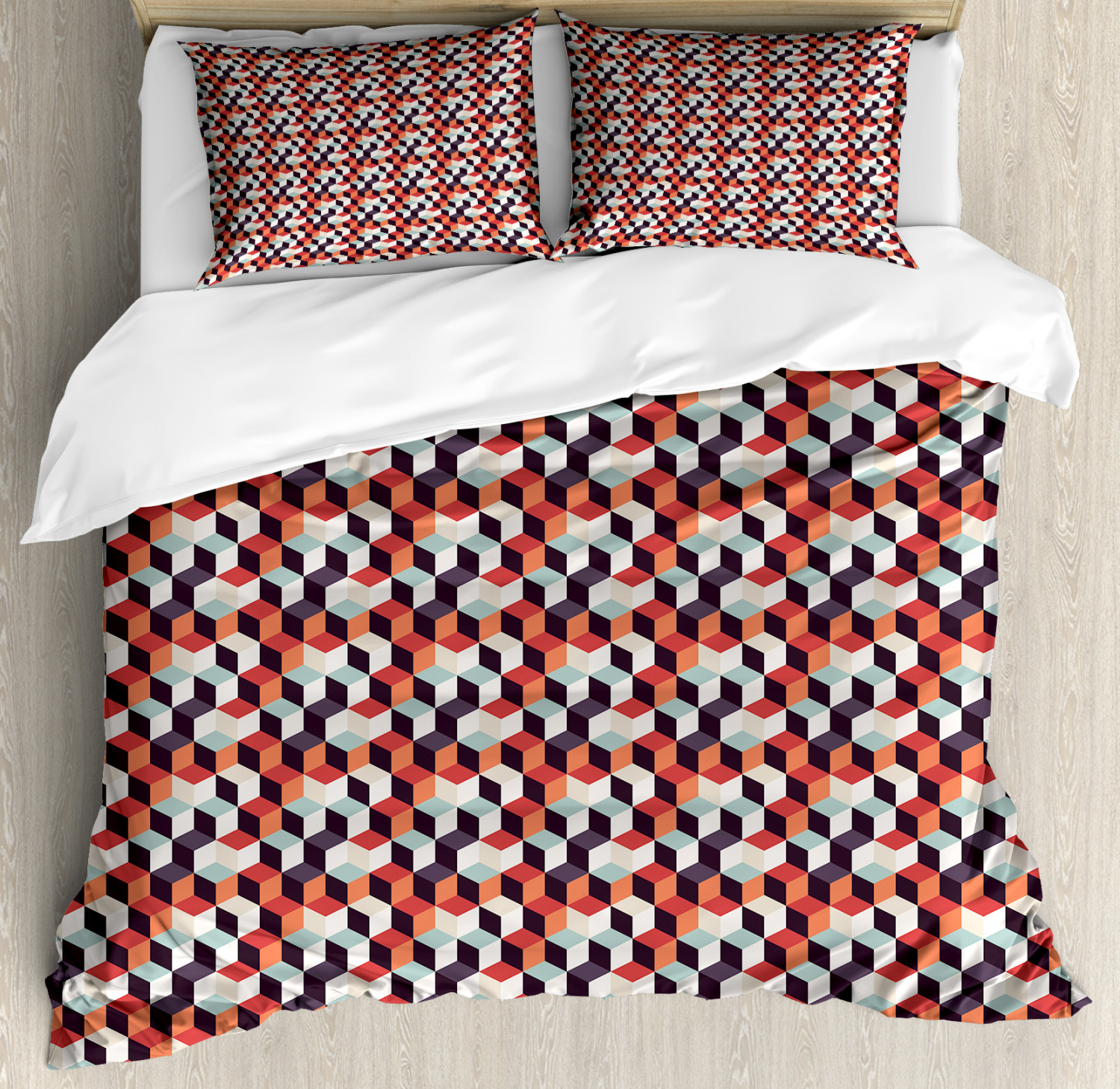 Geometric Duvet Cover Set with Pillow Shams Artsy Squares Design Print