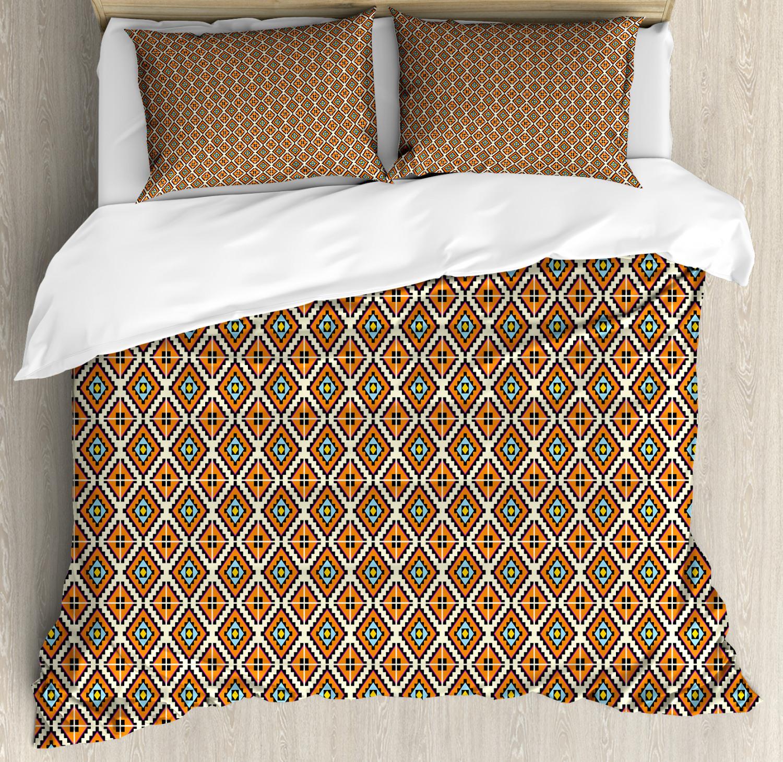 Geometric Duvet Cover Set with Pillow Shams Aztec Ethnic Squares Print