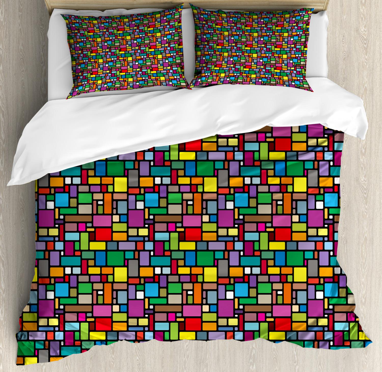 Geometric Duvet Cover Set with Pillow Shams Minimal Squares