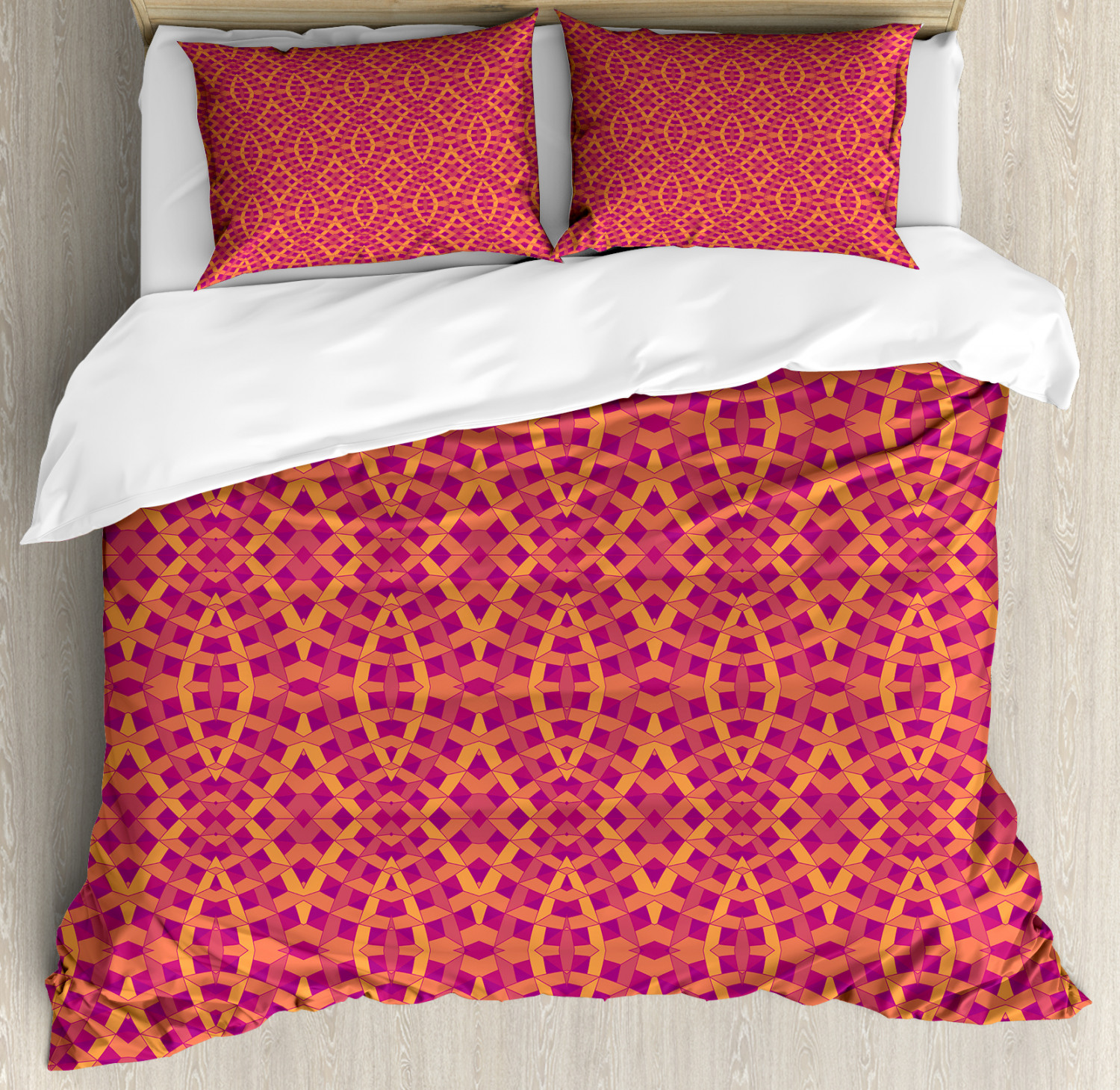 Geometric Duvet Cover Set with Pillow Shams Expressionist Pattern Print