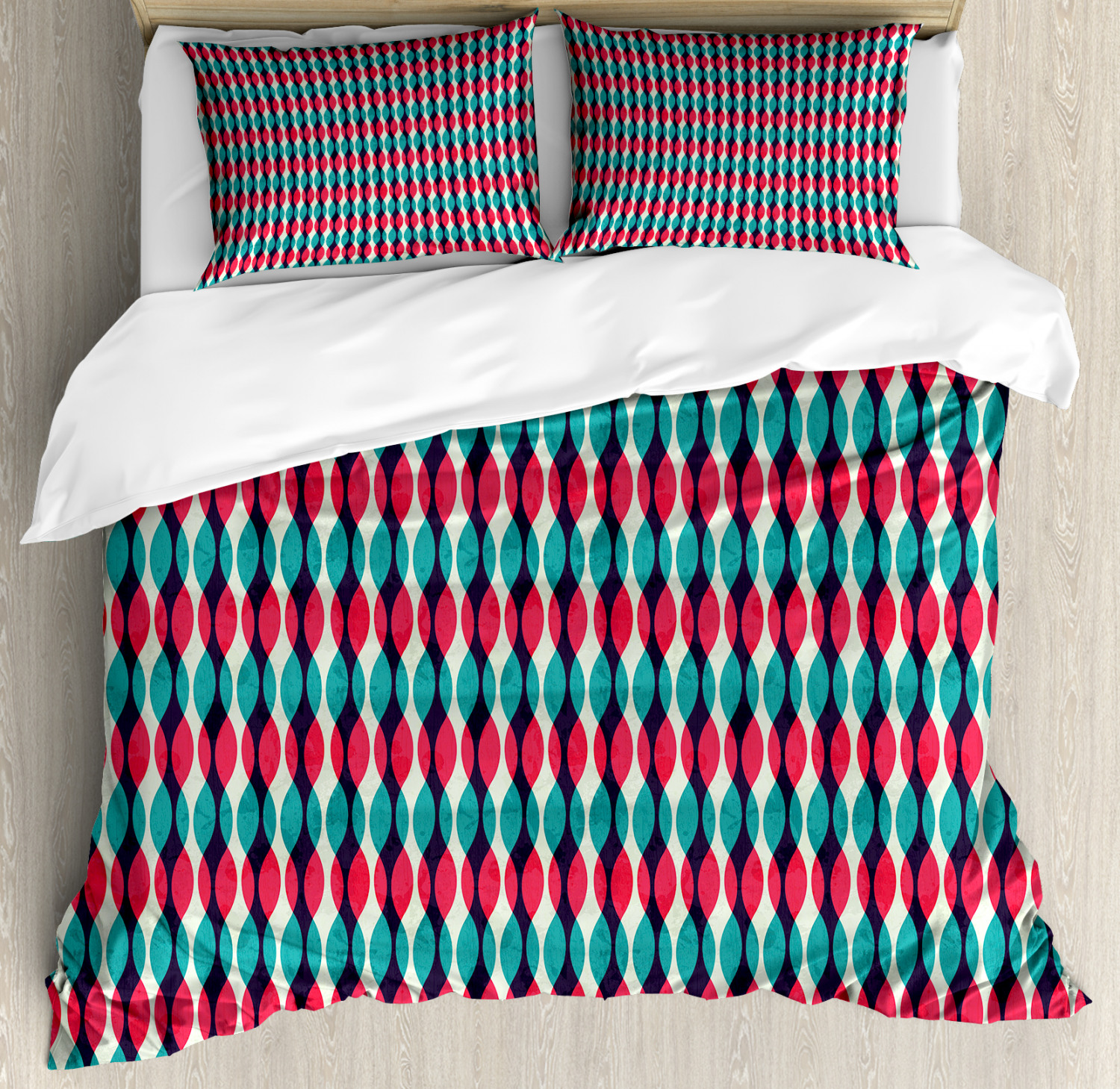 Geometric Duvet Cover Set with Pillow Shams Old School Shapes Print