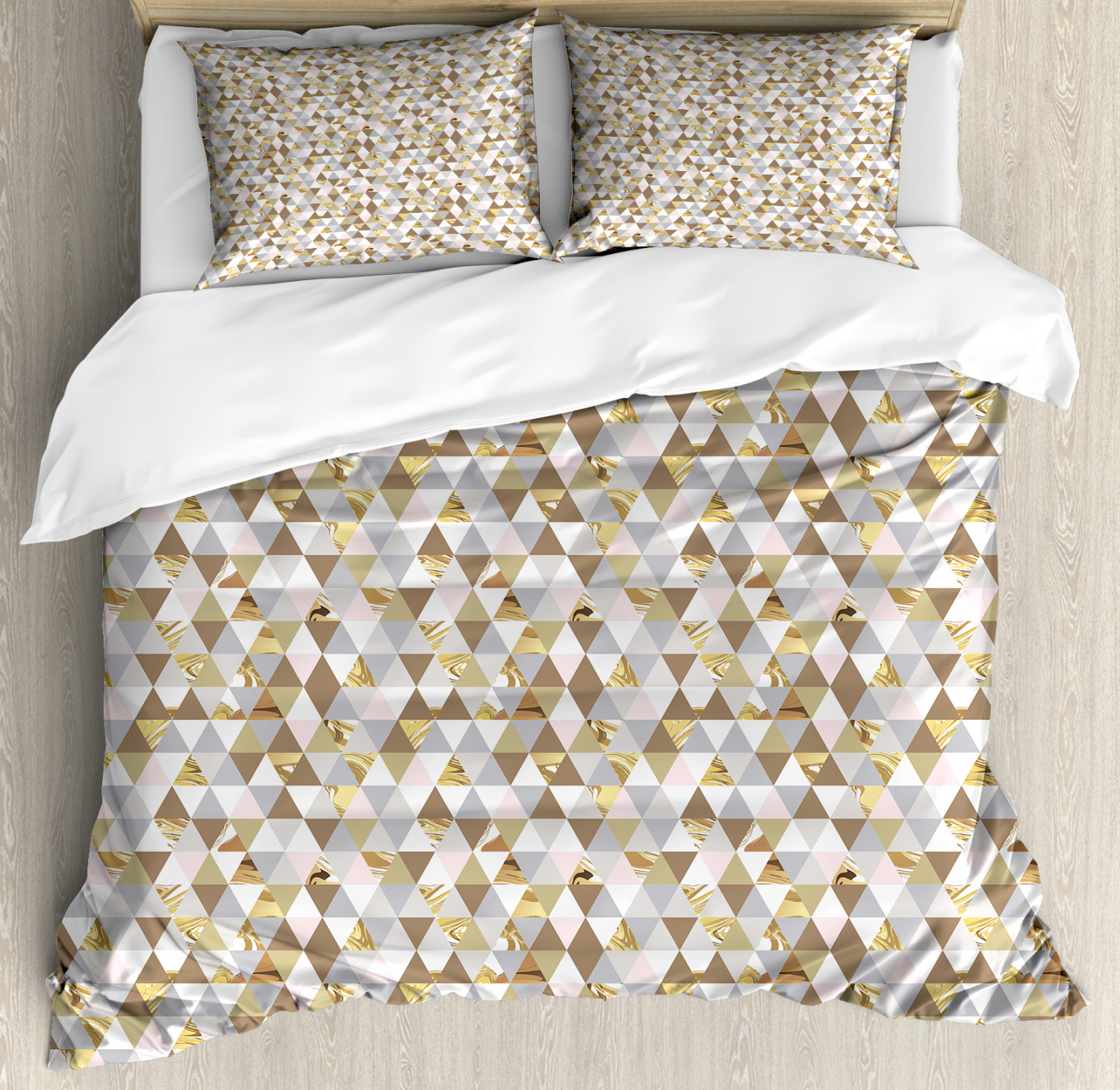 Geometric Duvet Cover Set with Pillow Shams Marble Triangles Print