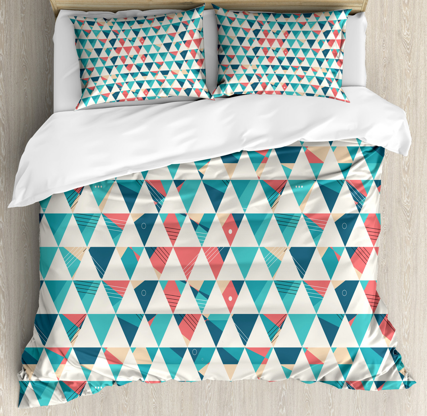 Geometric Duvet Cover Set with Pillow Shams Triangle Hexagons Print