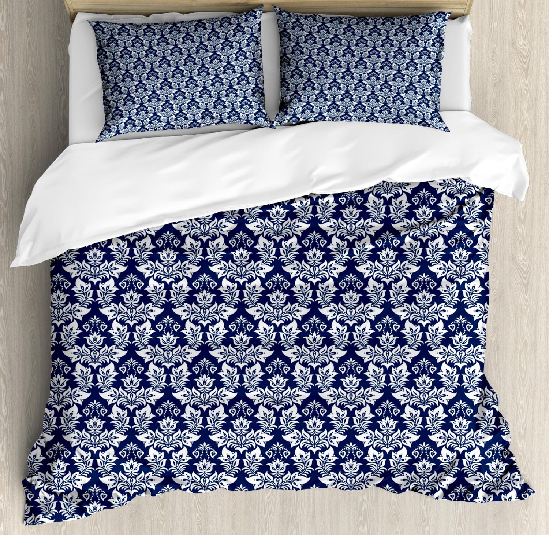 Damask Duvet Cover Set with Pillow Shams Antique Baroque Curves Print