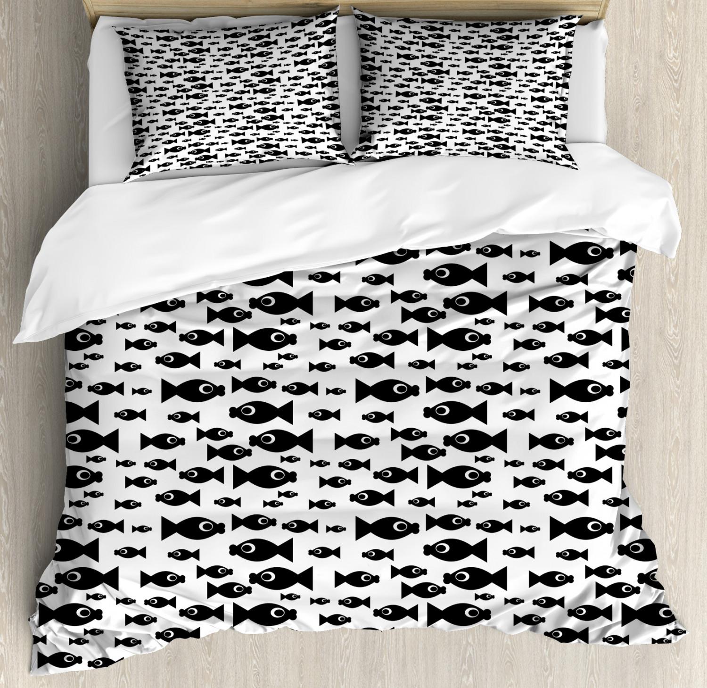 Fish Duvet Cover Set with Pillow Shams Cartoon Doodle Creatures Print
