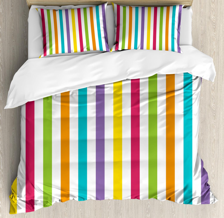Rainbow Duvet Cover Set with Pillow Shams Minimalist Line Art Print