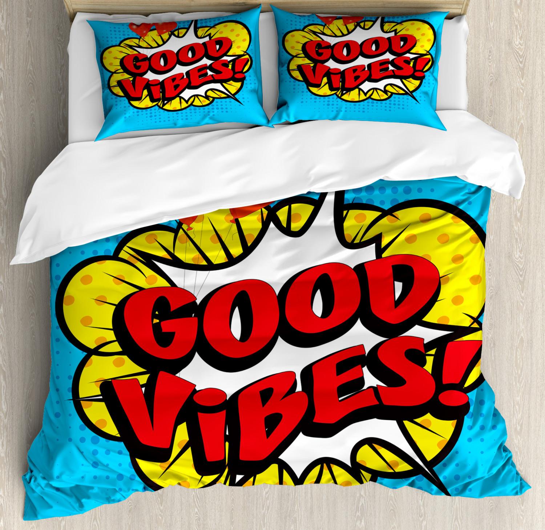 Good Vibes Duvet Cover Set with Pillow Shams Pop Speech Bubble Print