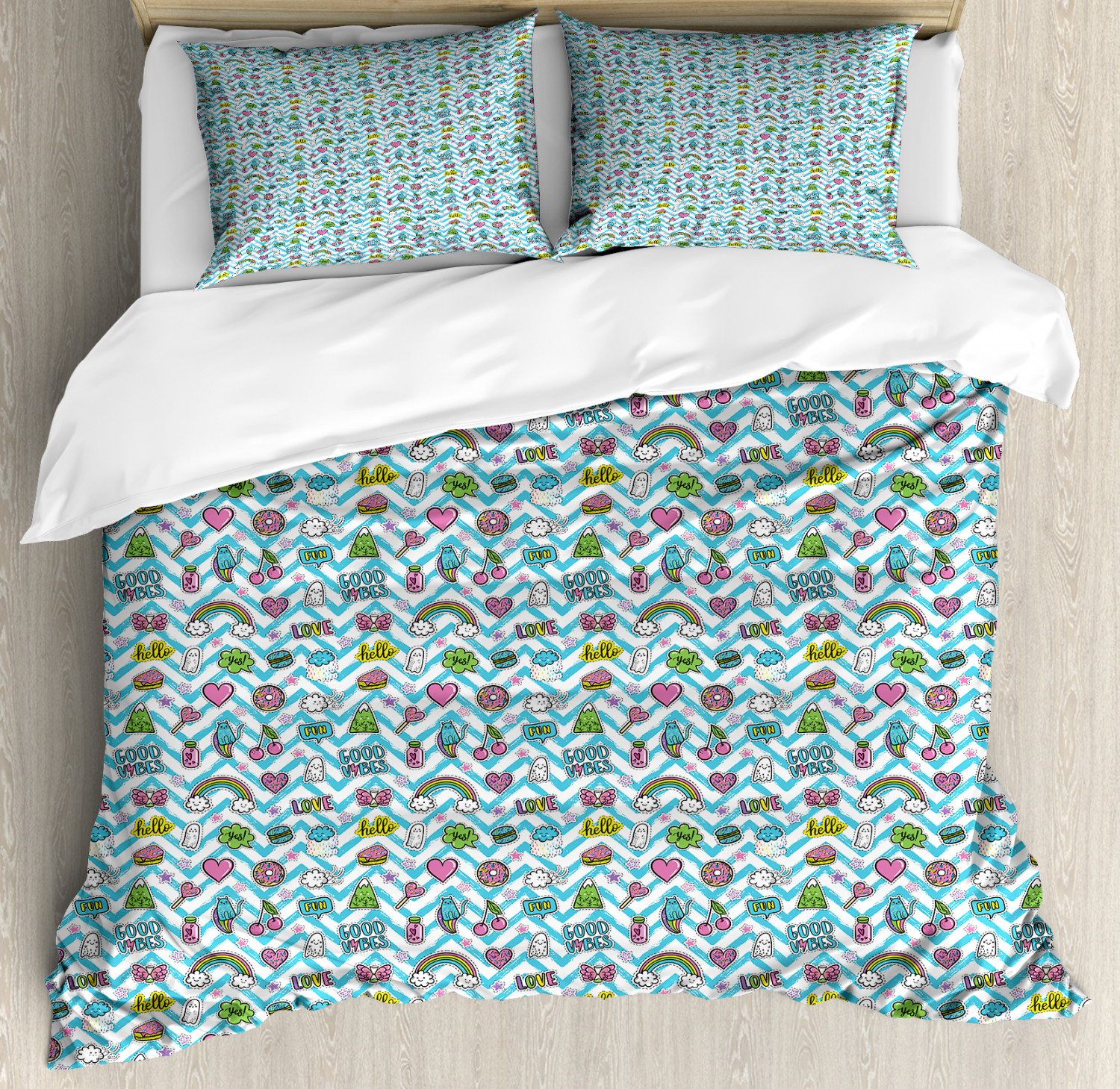 Good Vibes Duvet Cover Set with Pillow Shams Humorous Doodle Cute Print