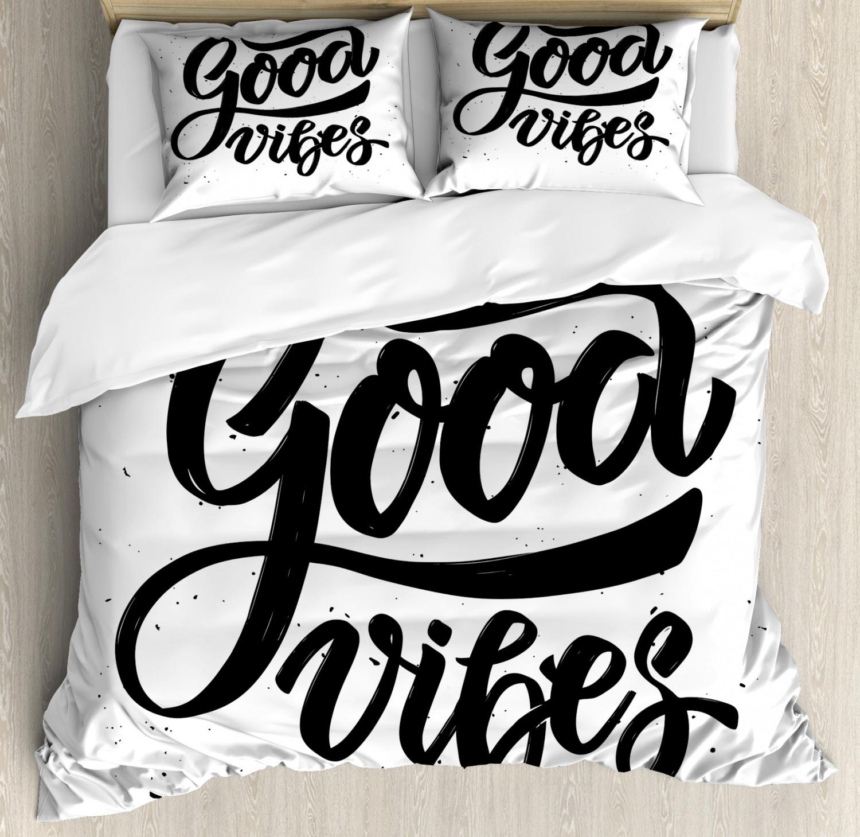 Good Vibes Duvet Cover Set with Pillow Shams Modern Hand Drawn Print