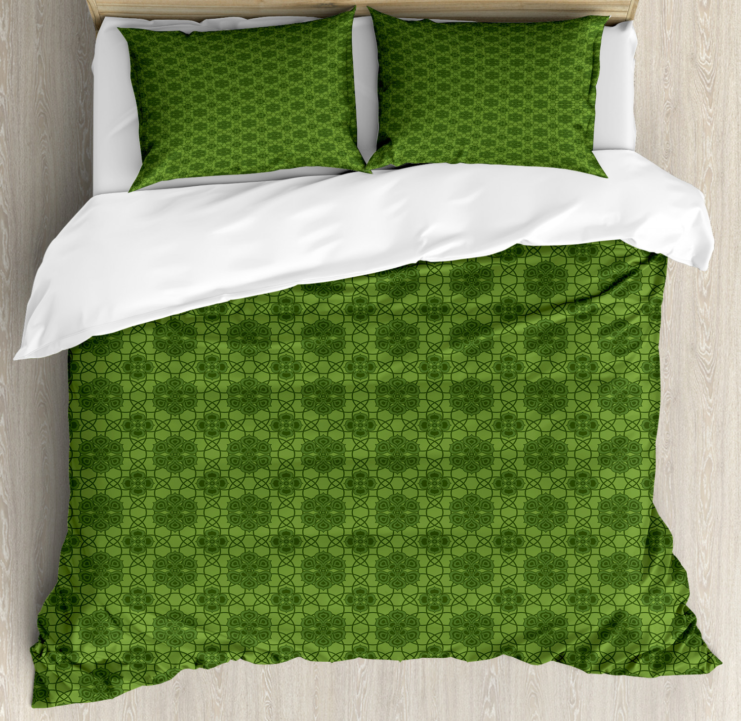 Sage Duvet Cover Set with Pillow Shams Mandala Geometrical Floral Print