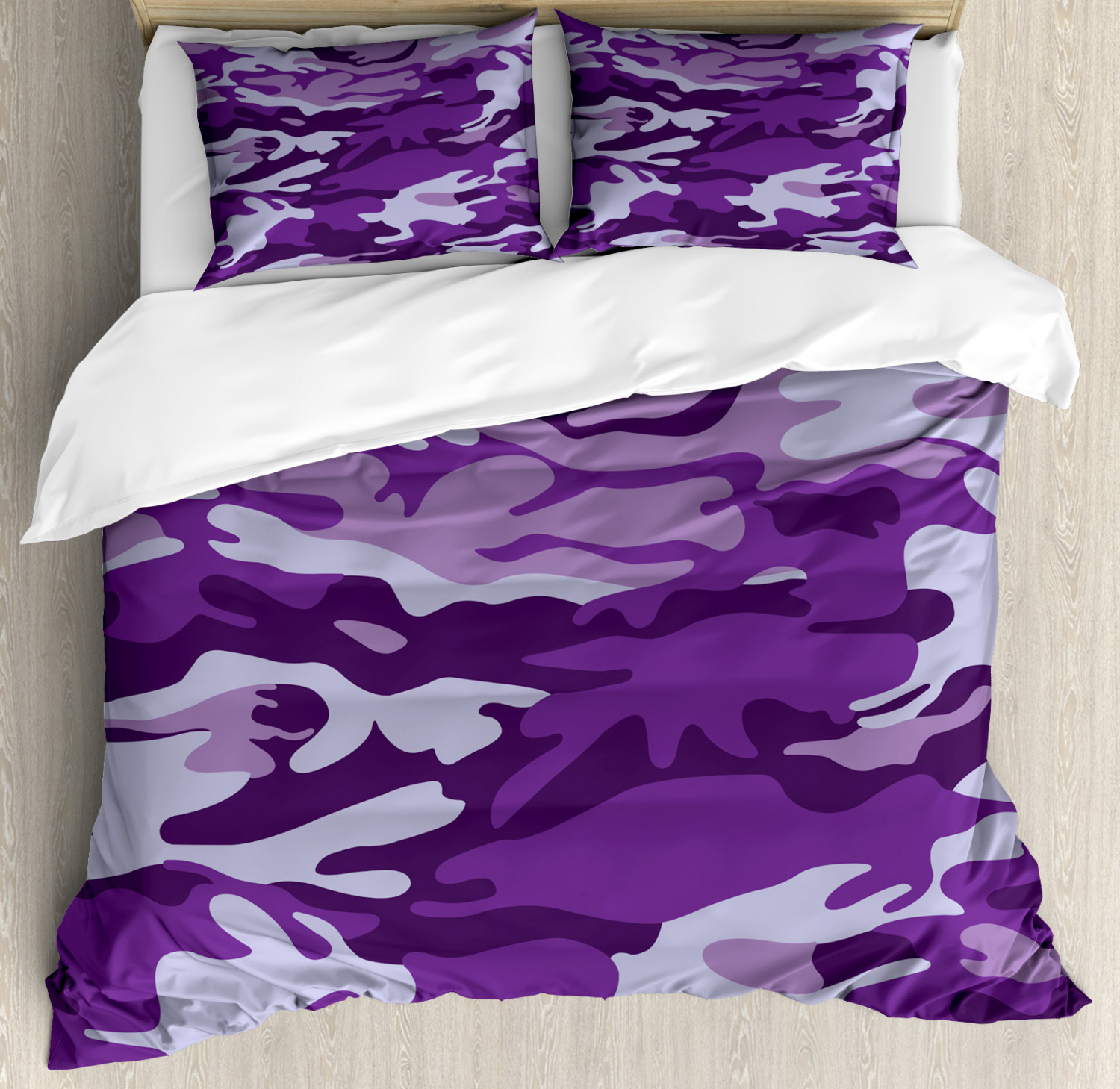 Camouflage Duvet Cover Set with Pillow Shams Purple Toned Waves Print