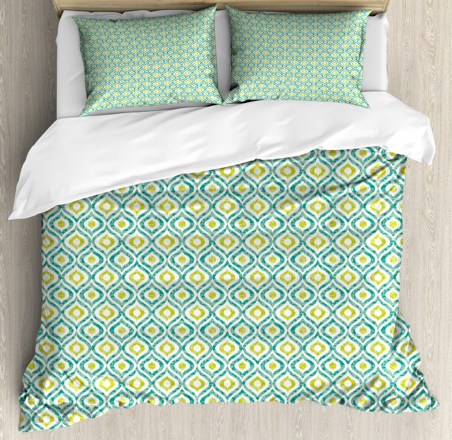 Ikat Duvet Cover Set with Pillow Shams Vibrant Asian Ogee Motif Print