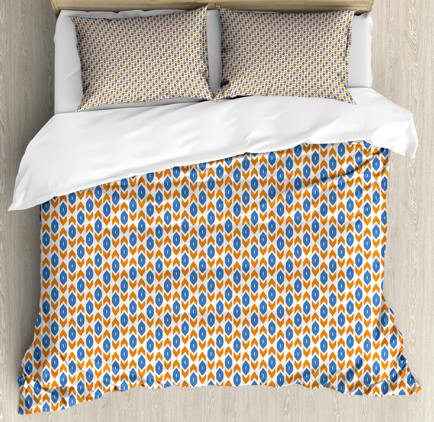 Ikat Duvet Cover Set with Pillow Shams Eastern Inspiration Arrow Print