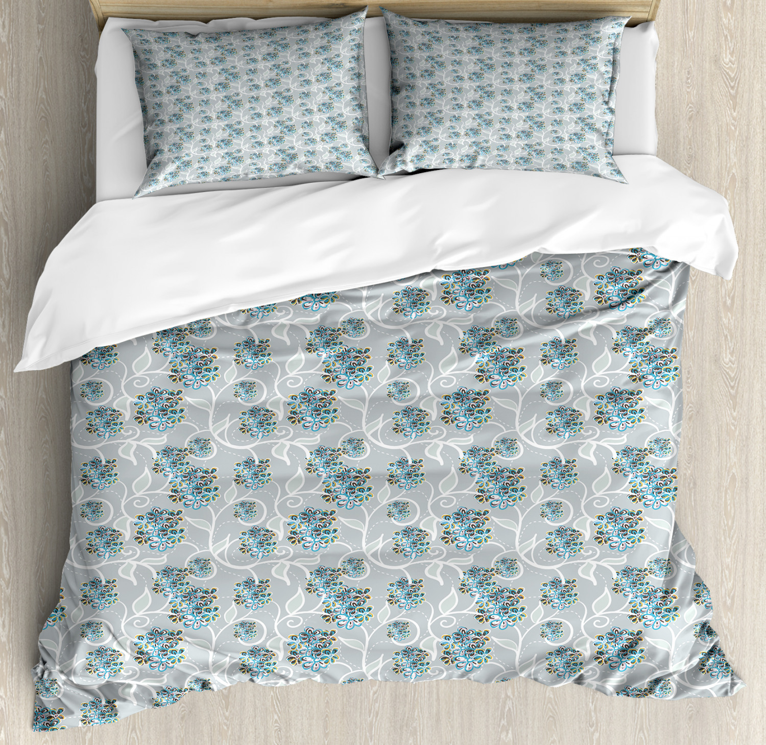 Duvet Cos.Details About Abstract Duvet Cover Set With Pillow Shams Lilac Doodle Leaves Print