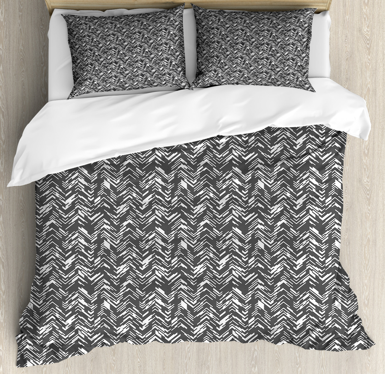 Abstract Duvet Cover Set with Pillow Shams Zigzags Roof Style Print