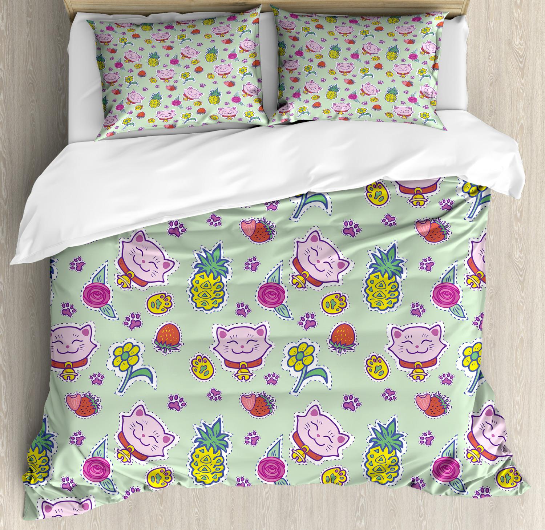 Kids Duvet Cover Set with Pillow Shams Smiling Cat Maneki Neko Print