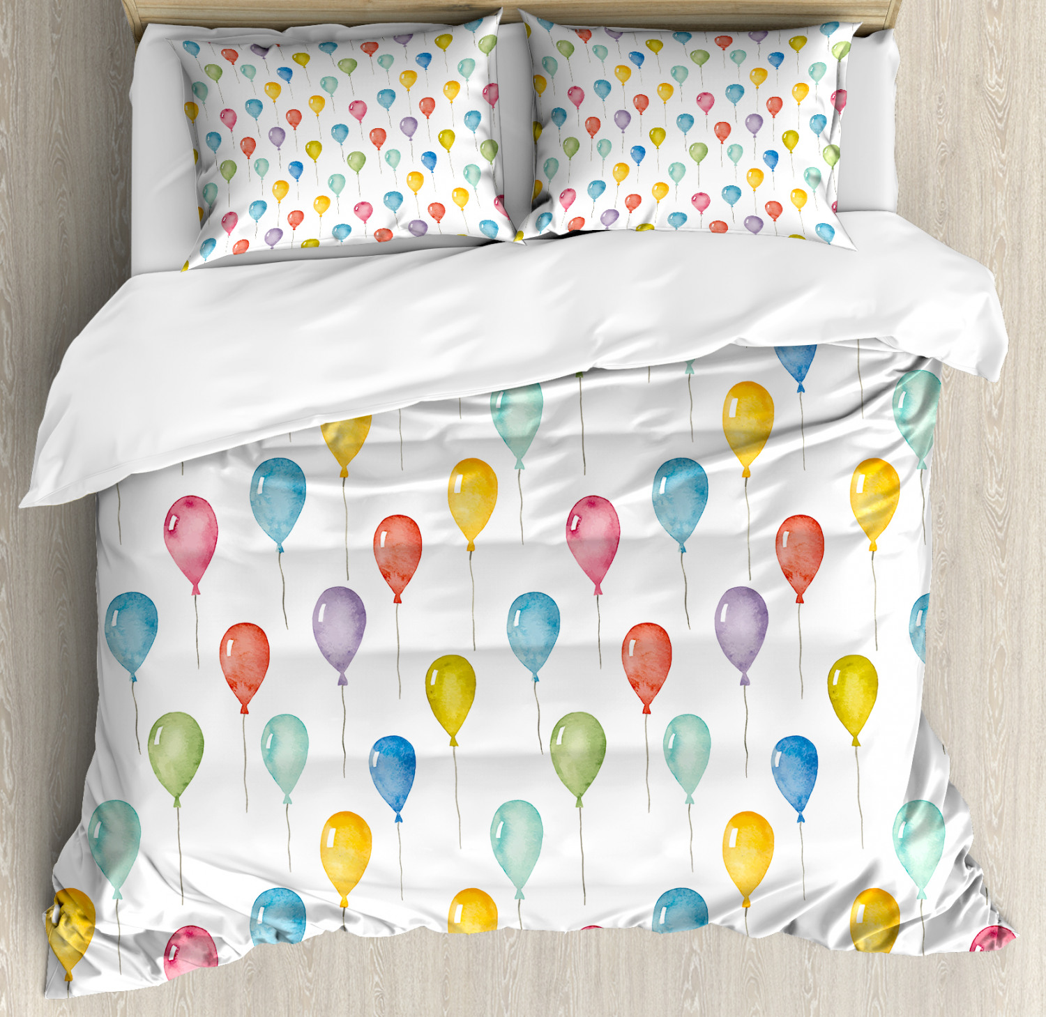 Kids Duvet Cover Set with Pillow Shams Flying WaterColoreee Balloons Print