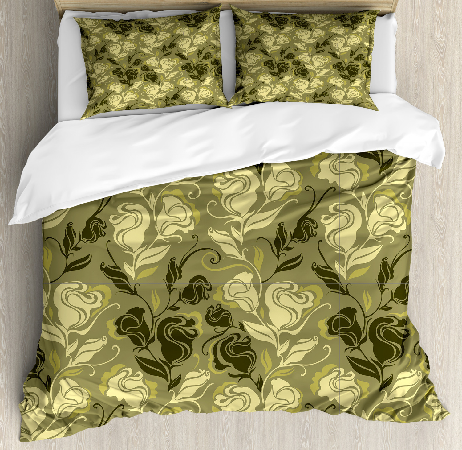 Grunge Duvet Cover Set with Pillow Shams Abstract Foliage pinks Print