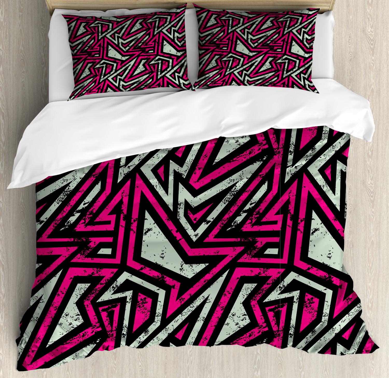 Grunge Duvet Cover Set with Pillow Shams Retro Geometric Lines Print