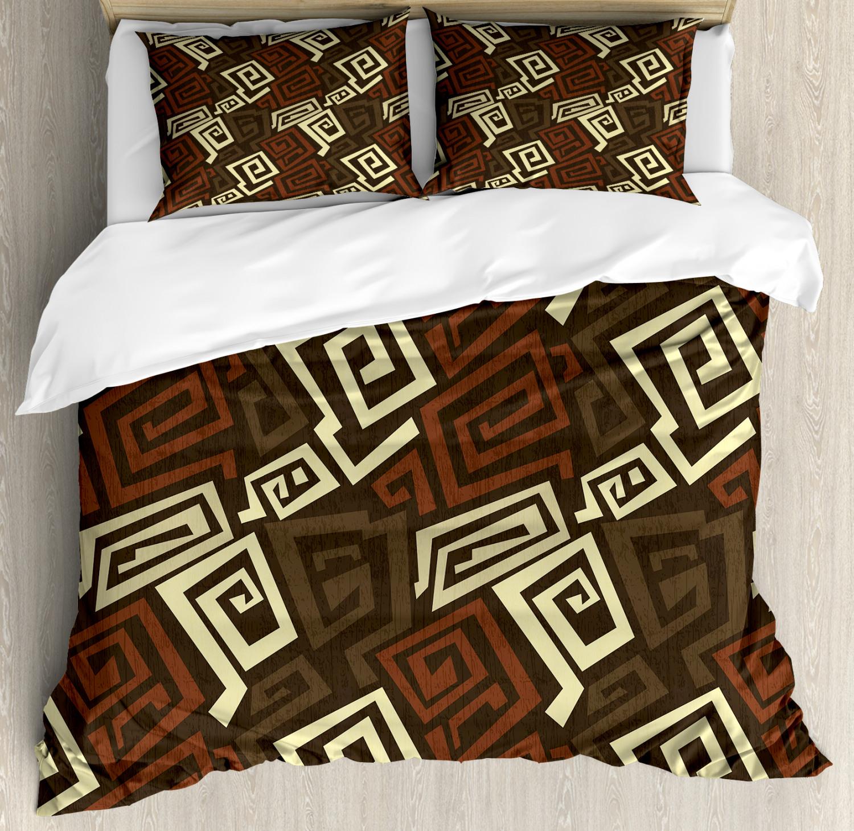 Grunge Duvet Cover Set with Pillow Shams Indigenous Ancient Folk Print