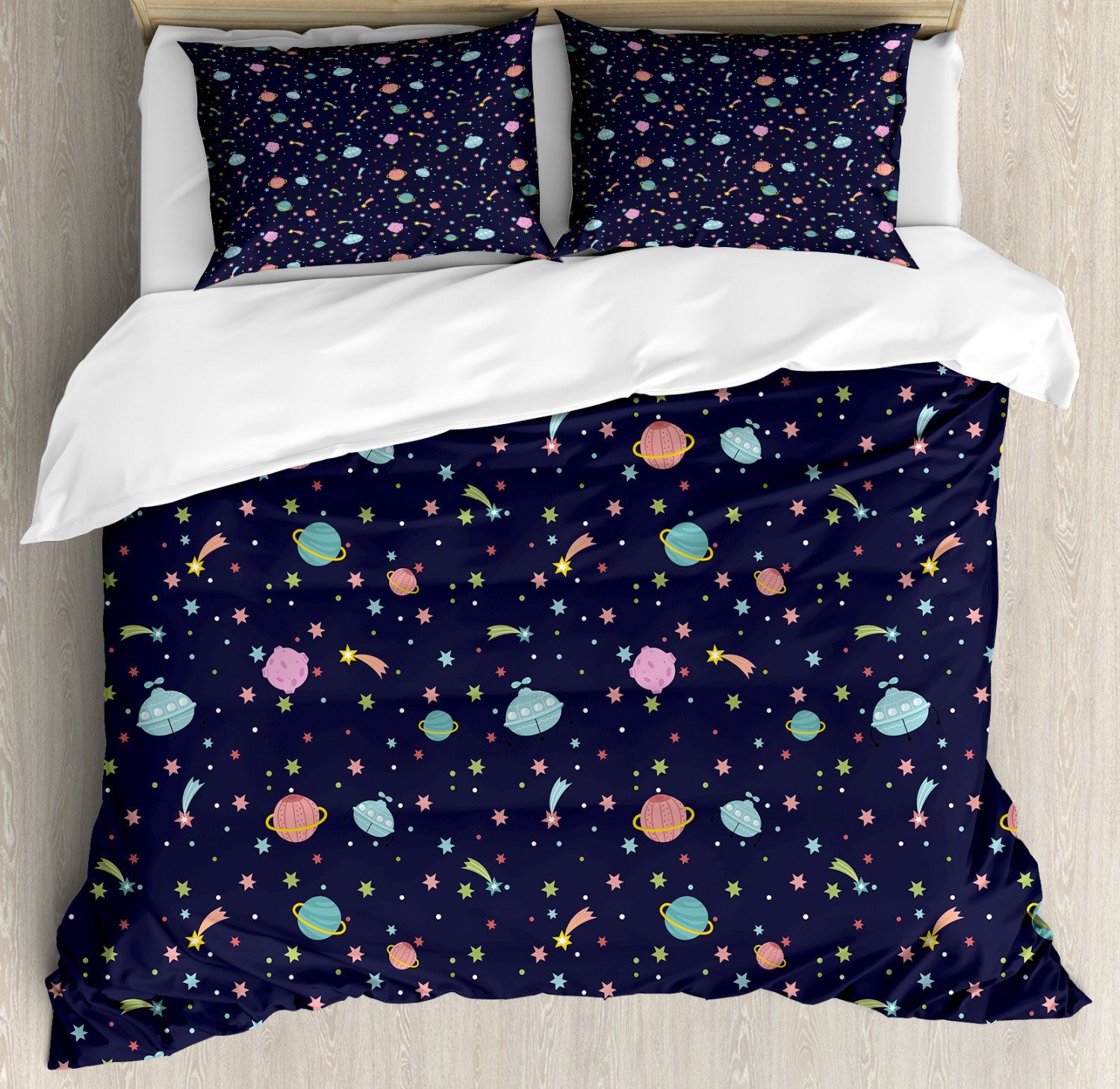 Space Duvet Cover Set with Pillow Shams Alien Planets Asteroid Print