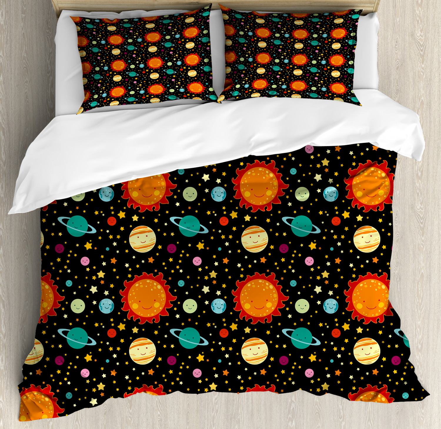 Space Duvet Cover Set with Pillow Shams Cute Smiling Planets Print
