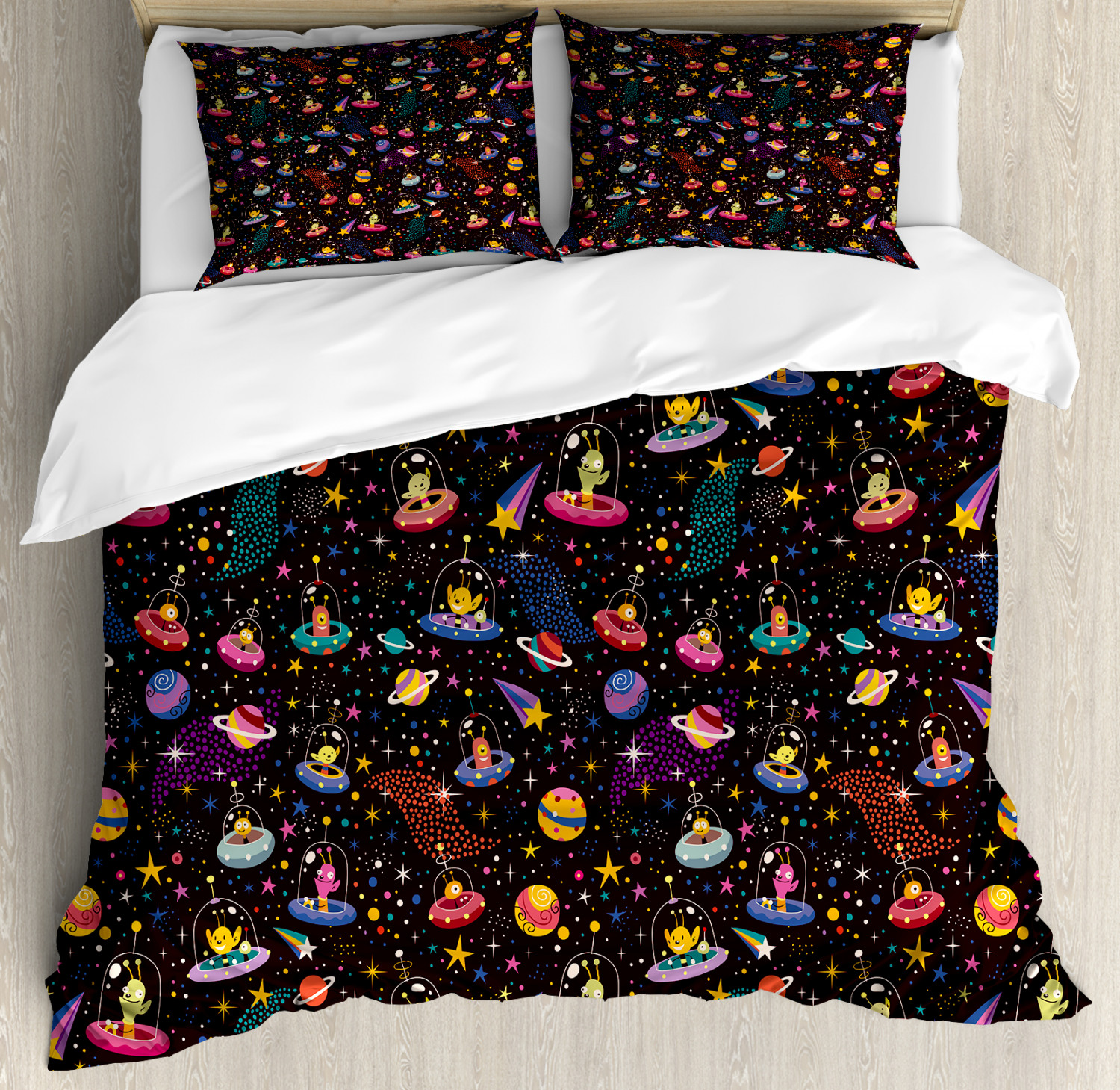 Space Duvet Cover Set with Pillow Shams Alien Planets and UFOs Print