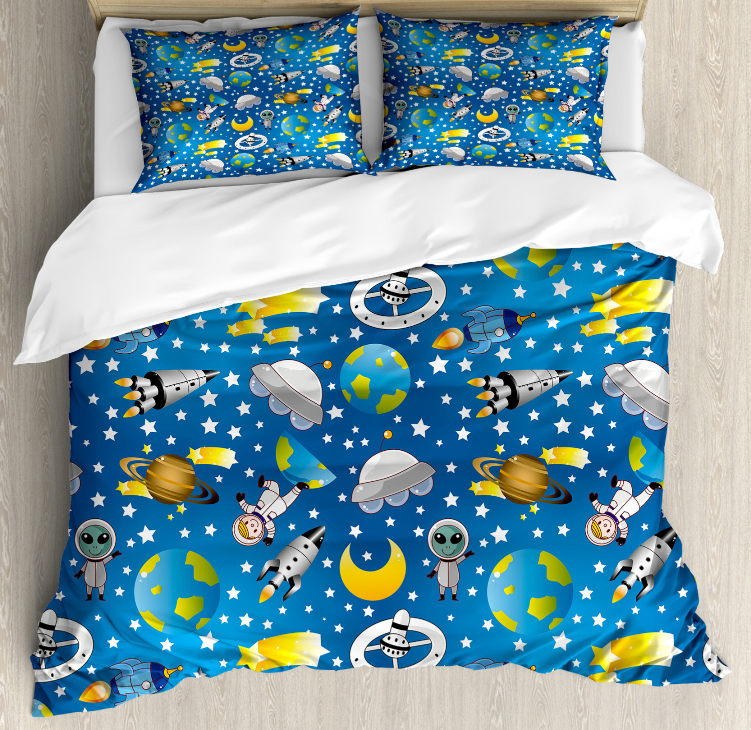 Space Duvet Cover Set with Pillow Shams Alien and Human Astronaut Print