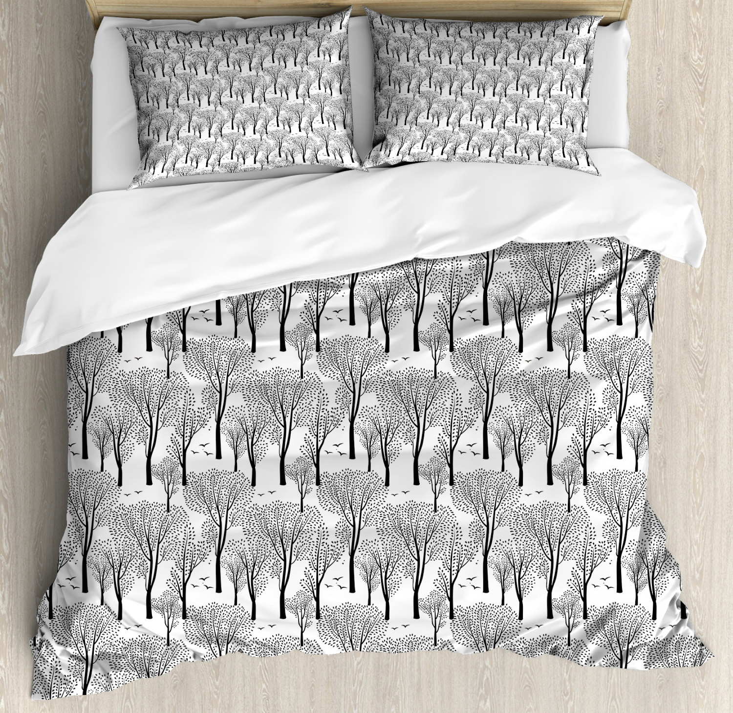 Winter Duvet Cover Set with Pillow Shams Abstract Forest Birds Print
