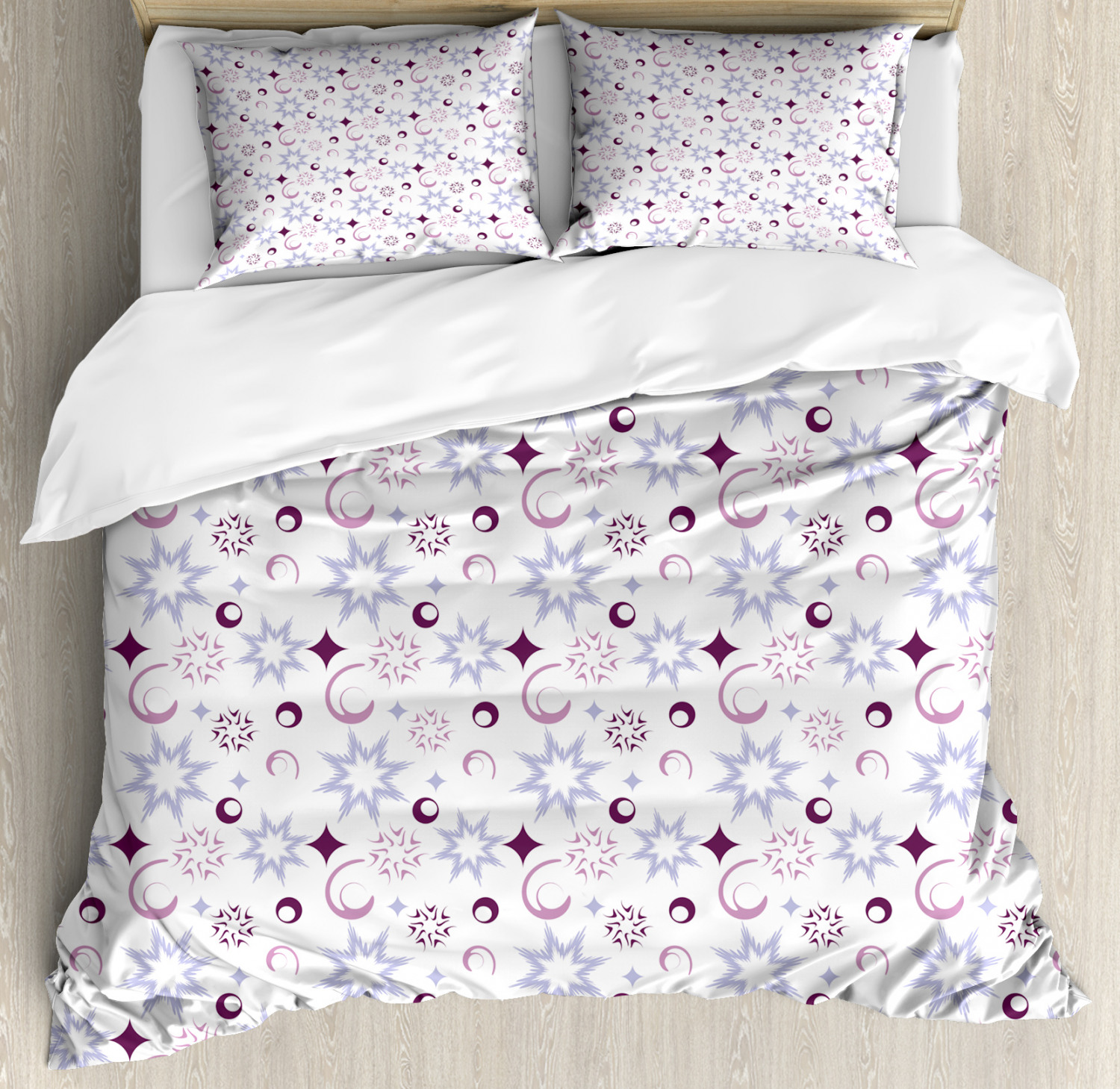 Winter Duvet Cover Set with Pillow Shams Retro Abstract Snowflake Print