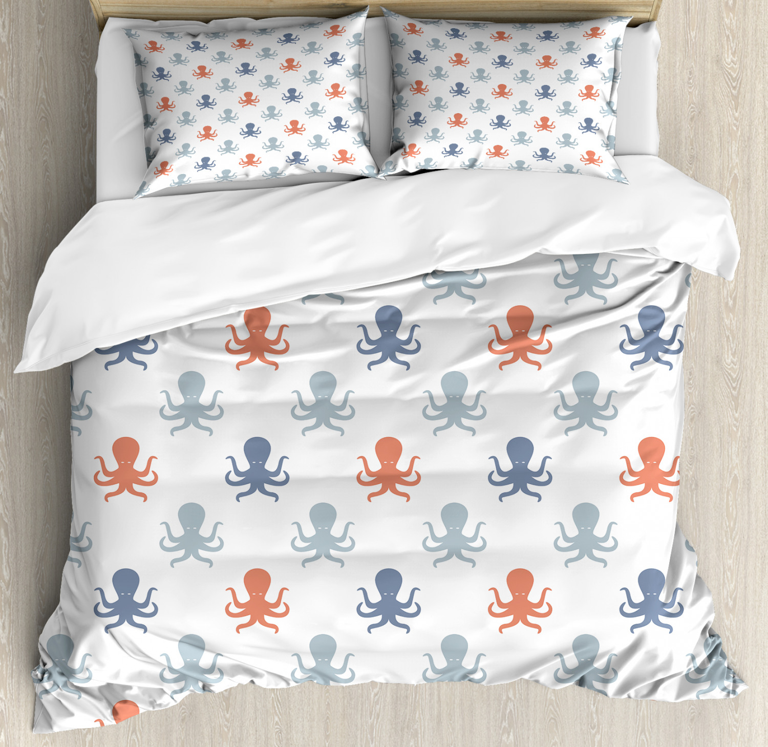 Octopus Duvet Cover Set with Pillow Shams Nautical Silhouettes Print