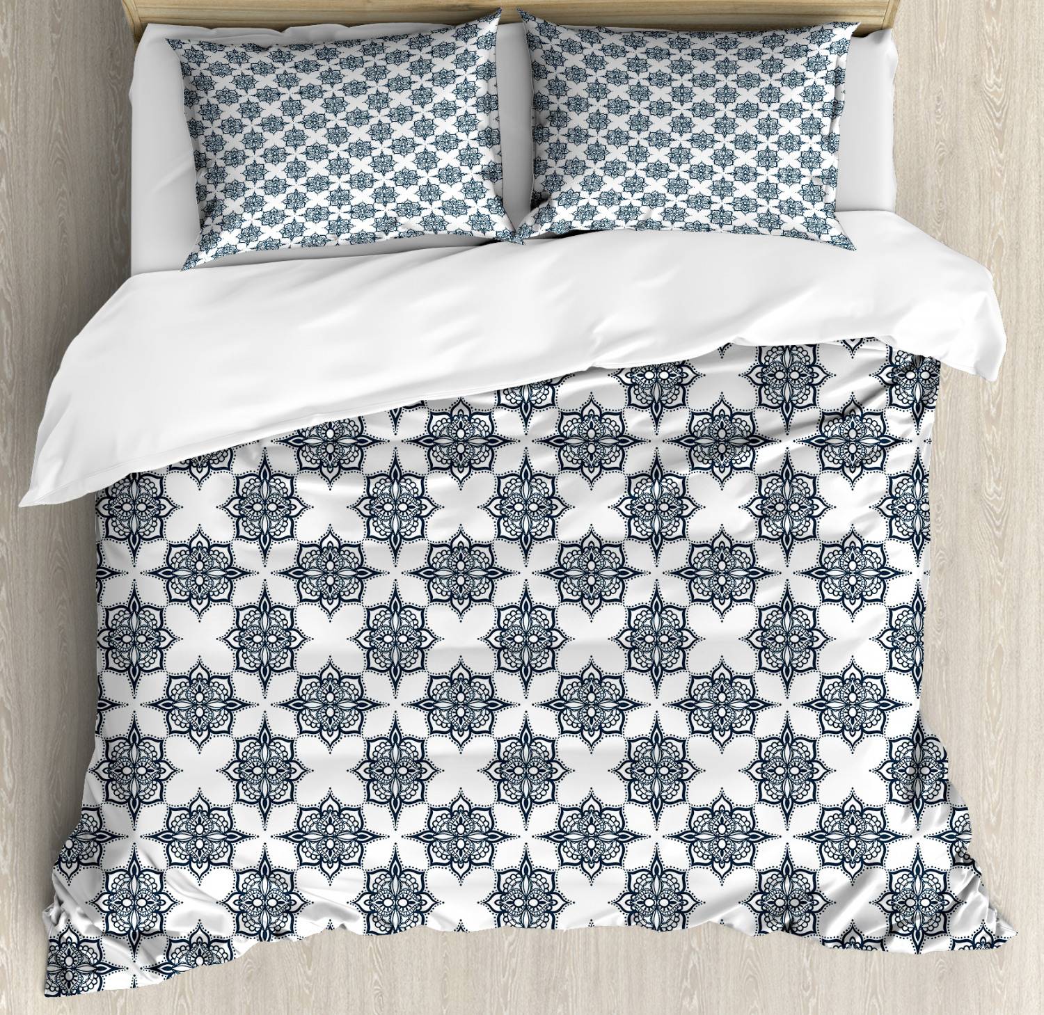 Geometric Duvet Cover Set with Pillow Shams Retro Lines Swirls Print