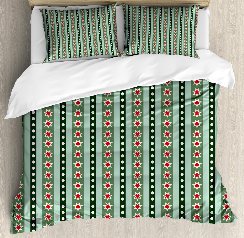 Geometric Duvet Cover Set with Pillow Shams Stars Christmas Motifs Print